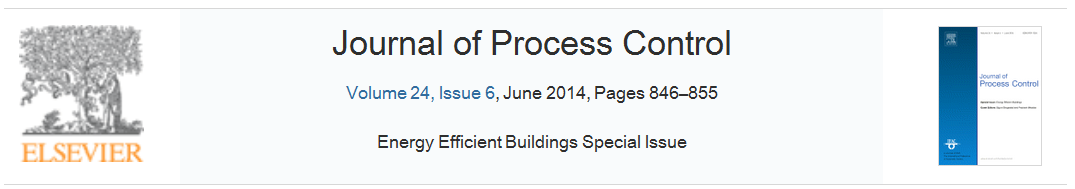 "Special Issue on ""Modelling, control, optimization and monitoring of energy-efficient buildings"" in Journal of Process Control"